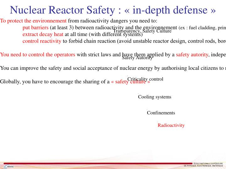 Nuclear Reactor Safety : «in-depth defense»