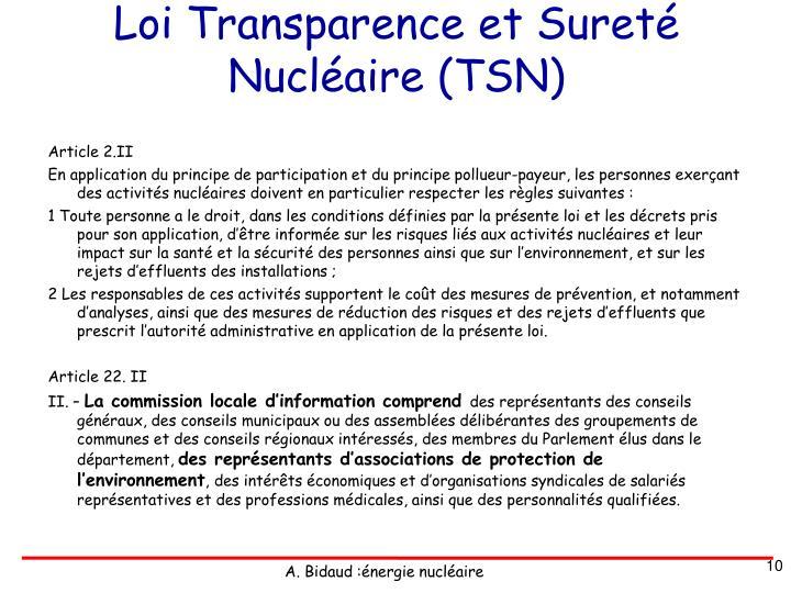 Loi Transparence et Sureté Nucléaire (TSN)