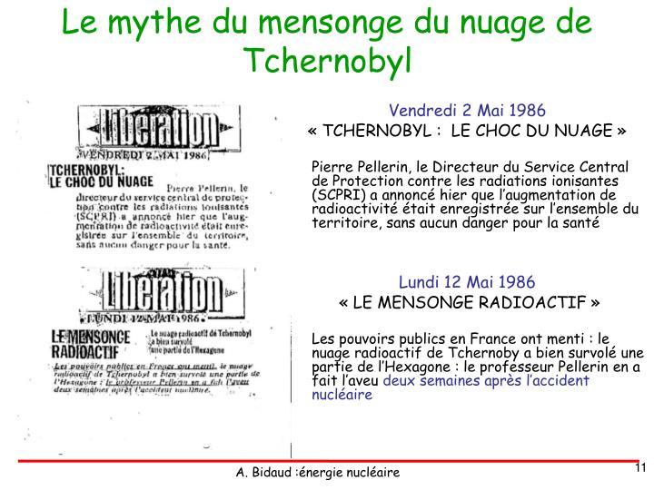 Le mythe du mensonge du nuage de Tchernobyl