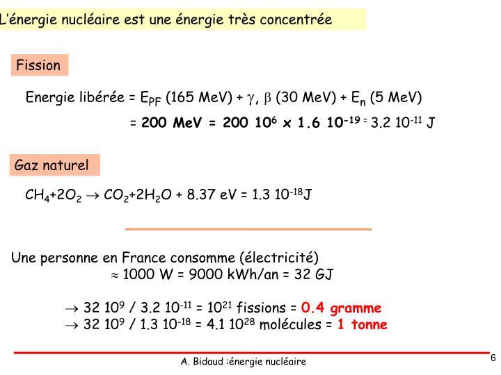 L'énergie nucléaire est une énergie très concentrée