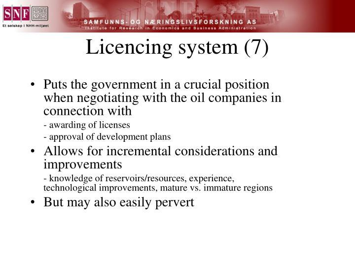 Licencing system (7)