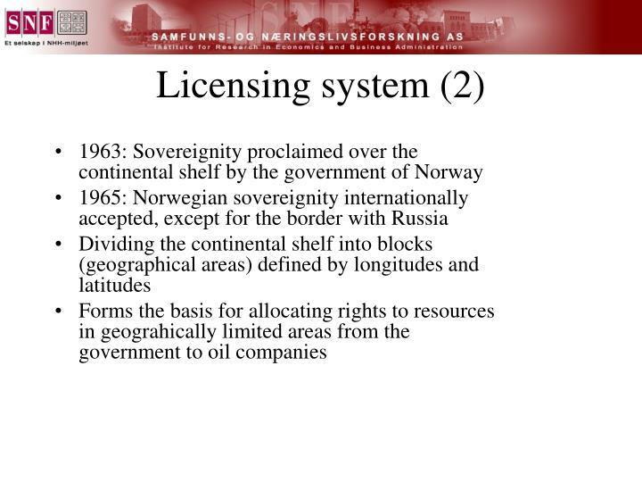 Licensing system (2)