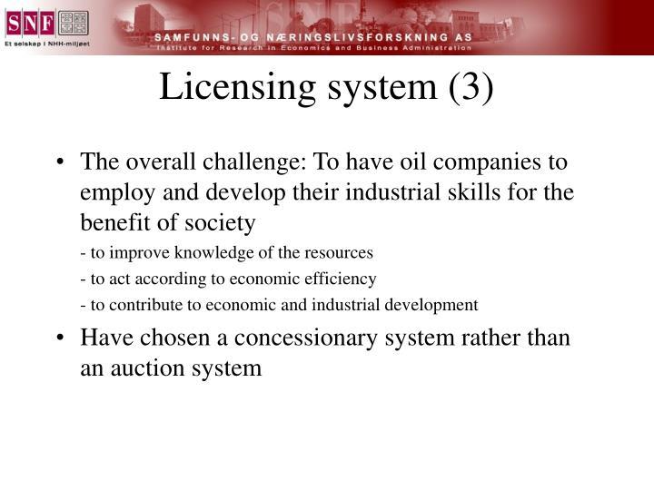 Licensing system (3)
