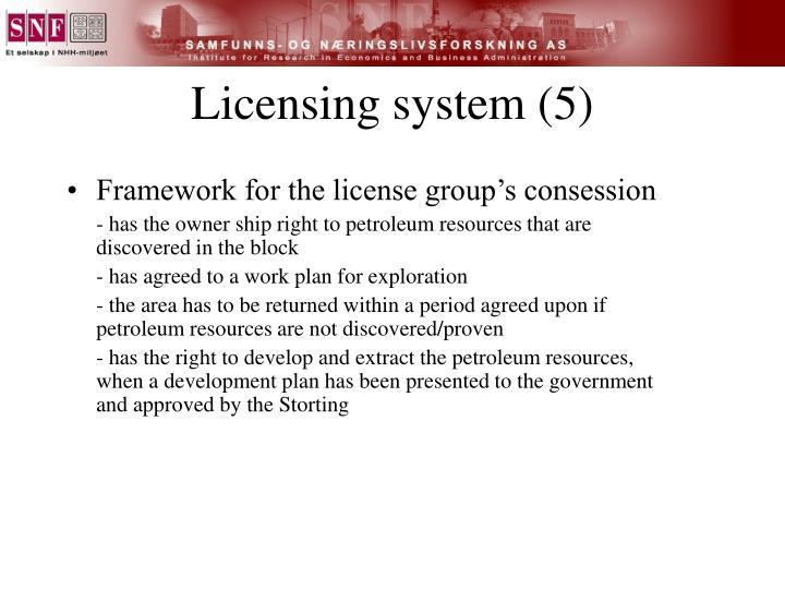 Licensing system (5)