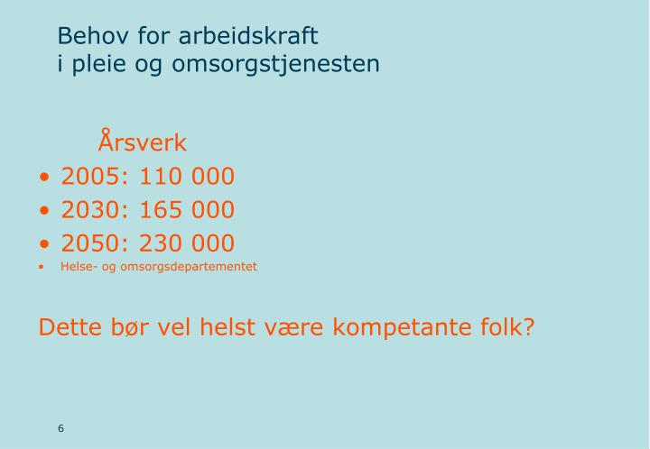 Behov for arbeidskraft