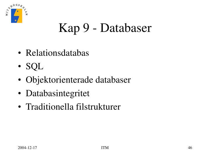 Kap 9 - Databaser