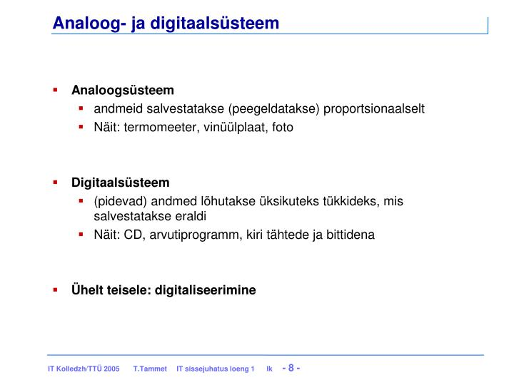 Analoog- ja digitaalsüsteem