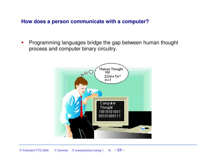 How does a person communicate with a computer?