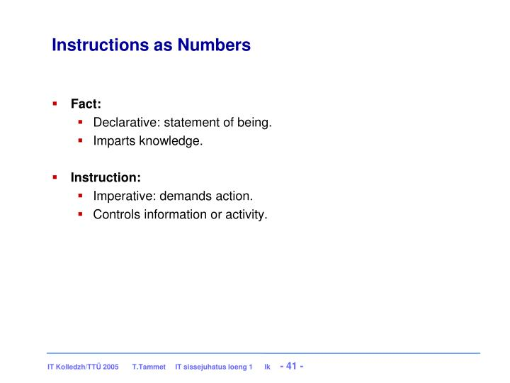 Instructions as Numbers