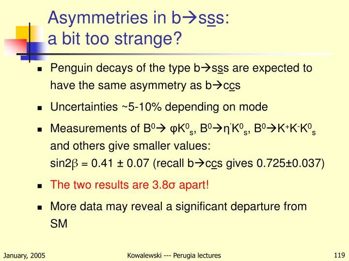 Asymmetries in b