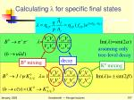 calculating l for specific final states