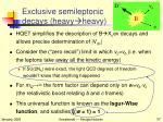 exclusive semileptonic decays heavy heavy