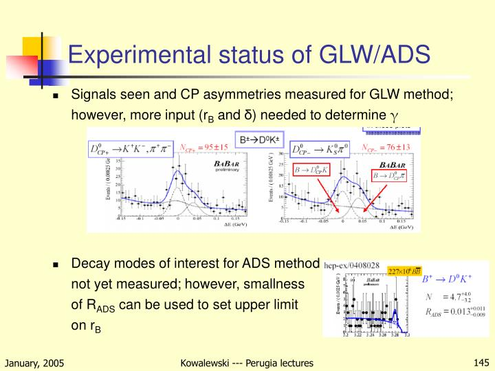 Experimental status of GLW/ADS