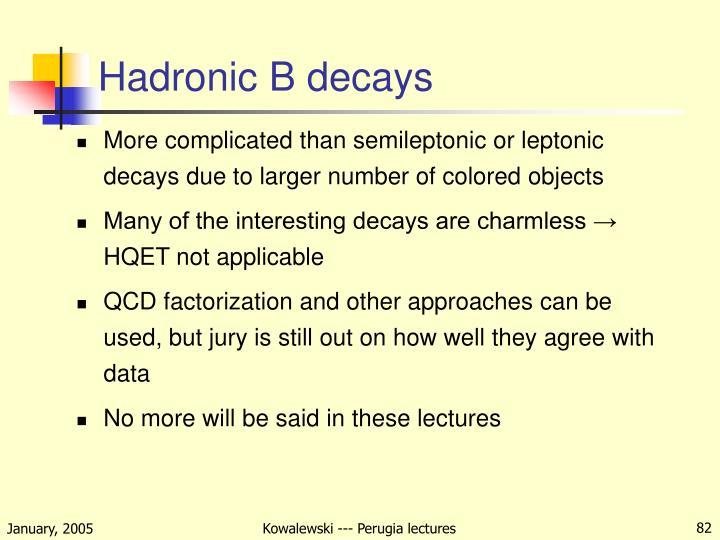 Hadronic B decays