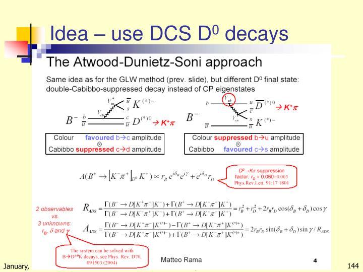Idea – use DCS D