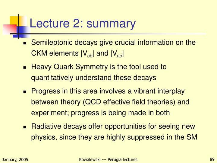 Lecture 2: summary