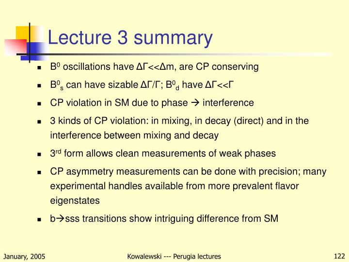 Lecture 3 summary