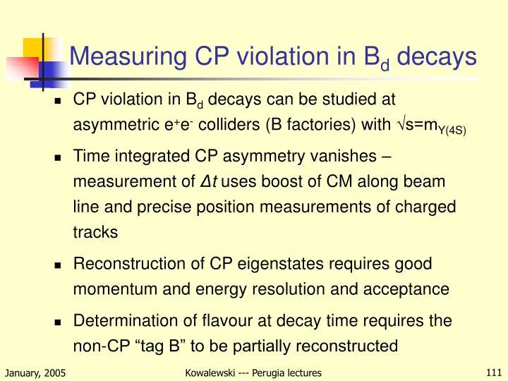 Measuring CP violation in B