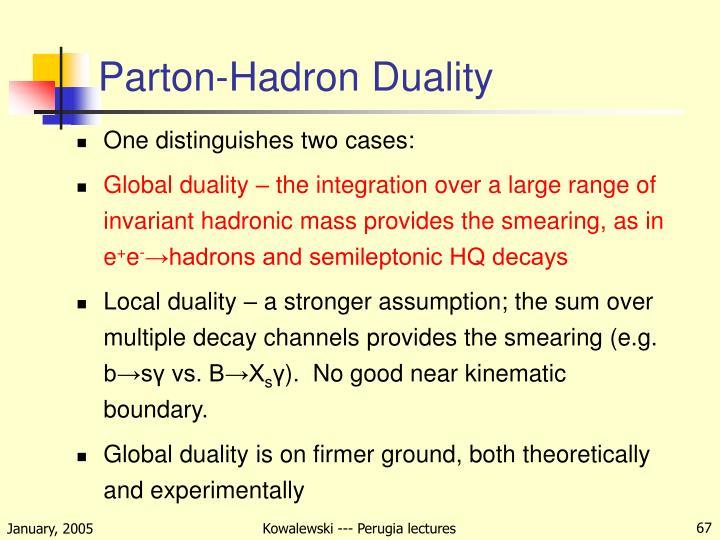 Parton-Hadron Duality