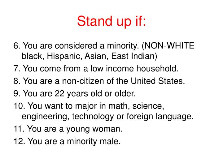 Stand up if: