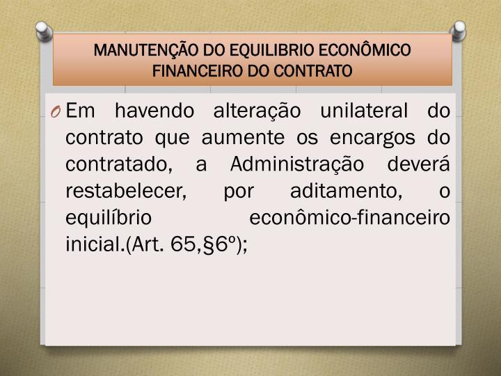 MANUTENÇÃO DO EQUILIBRIO ECONÔMICO FINANCEIRO DO CONTRATO