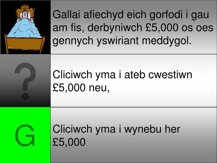 Gallai afiechyd eich gorfodi i gau am fis, derbyniwch £5,000 os oes gennych yswiriant meddygol.