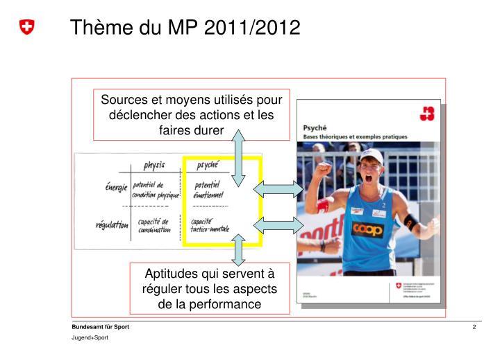 Thème du MP 2011/2012