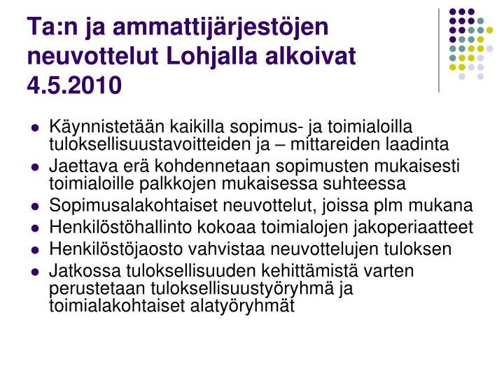 Ta:n ja ammattijärjestöjen neuvottelut Lohjalla alkoivat 4.5.2010