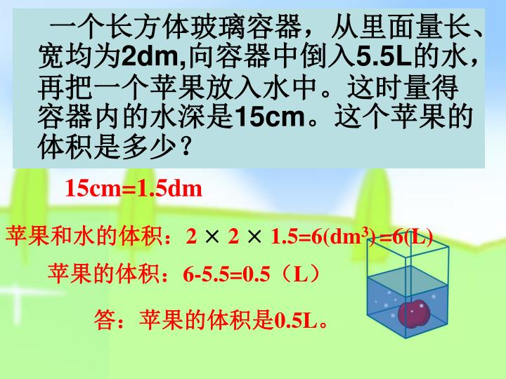 一个长方体玻璃容器,从里面量长、宽均为