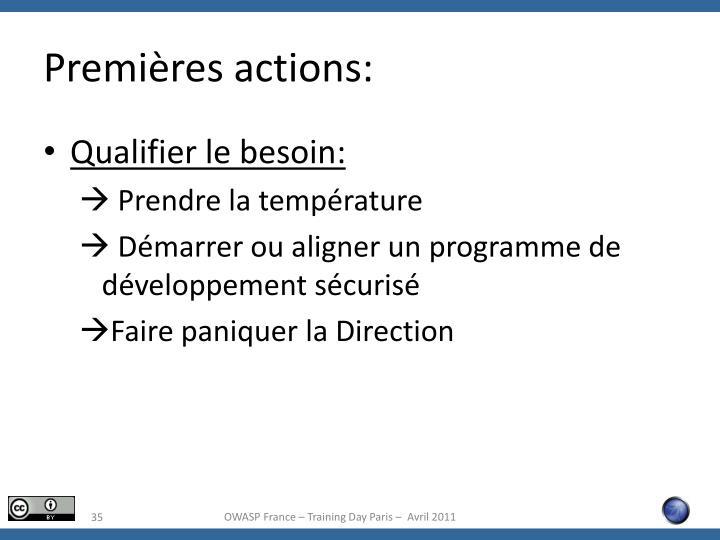 Premières actions: