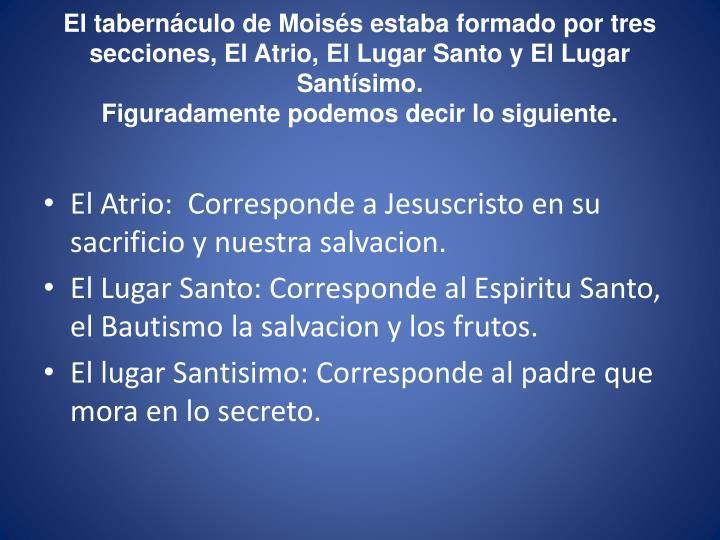 El tabernáculo de Moisés estaba formado por tres secciones, El Atrio, El Lugar Santo y El Lugar Santísimo.