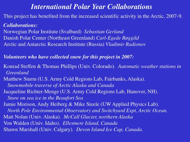 International Polar Year Collaborations