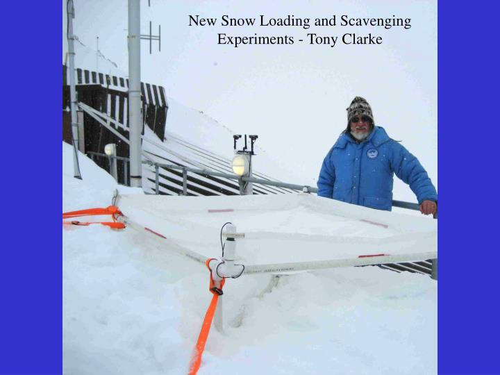 New Snow Loading and Scavenging Experiments - Tony Clarke