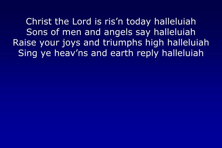 Christ the Lord is ris'n today halleluiah