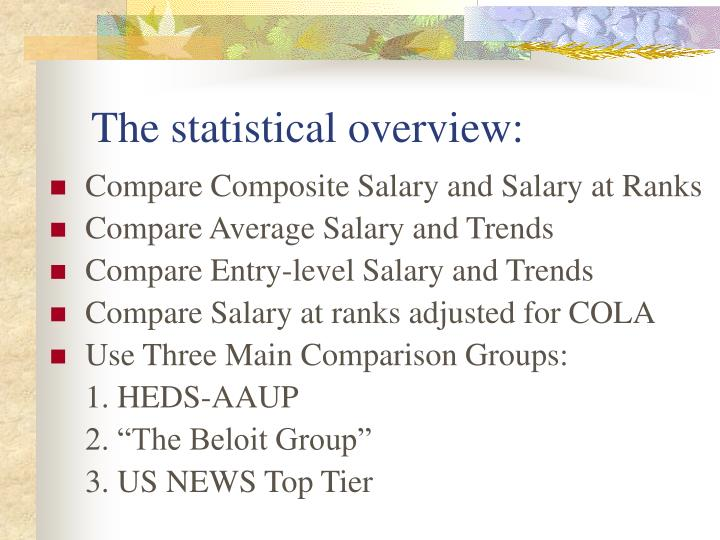 The statistical overview