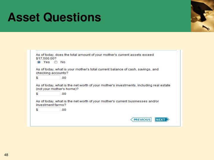 Asset Questions