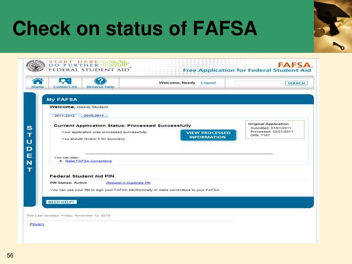 Check on status of FAFSA