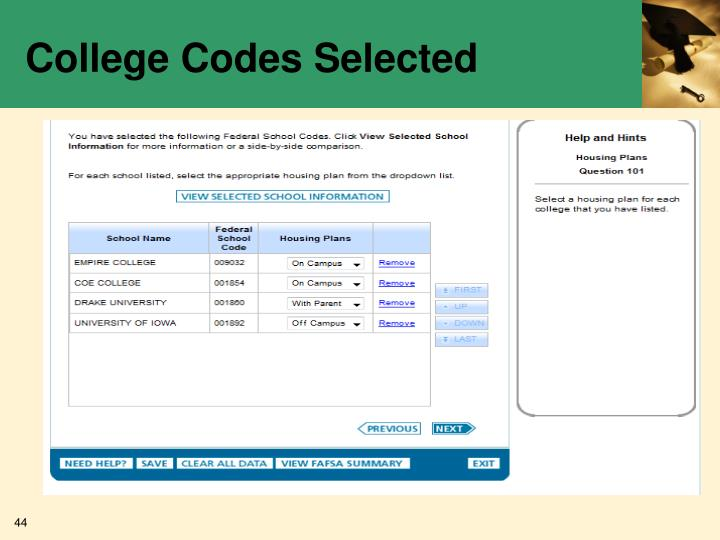 College Codes Selected