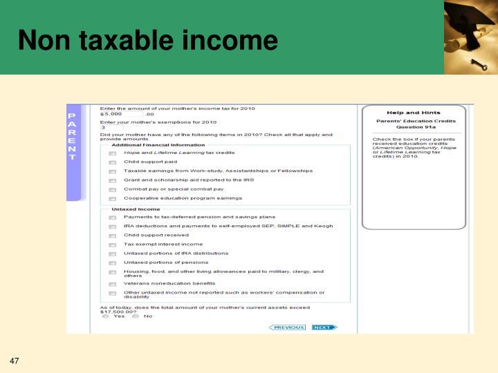 Non taxable income