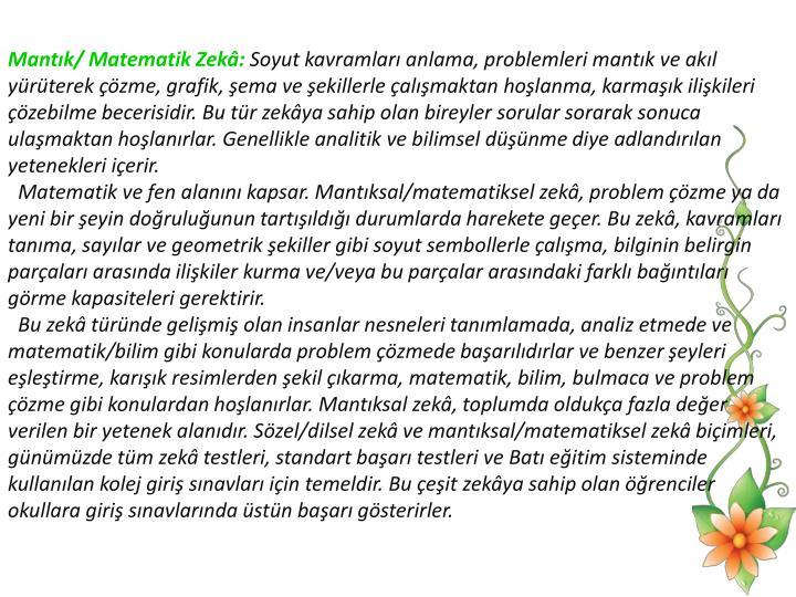 Mantk/ Matematik Zek: