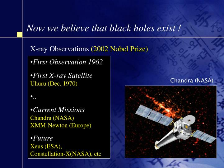 Now we believe that black holes exist !