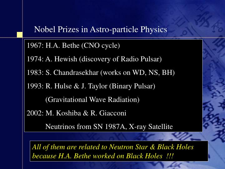 Nobel Prizes in Astro-particle Physics