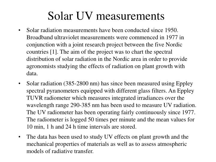 Solar UV measurements