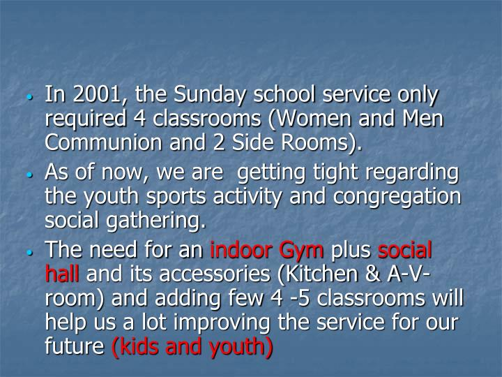 In 2001, the Sunday school service only required 4 classrooms (Women and Men Communion and 2 Side Rooms).