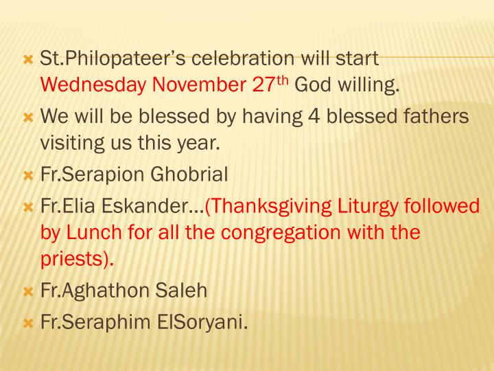 St.Philopateer's celebration will start