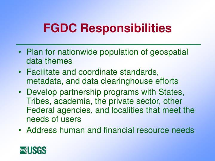 FGDC Responsibilities