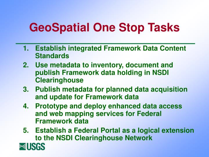 GeoSpatial One Stop Tasks