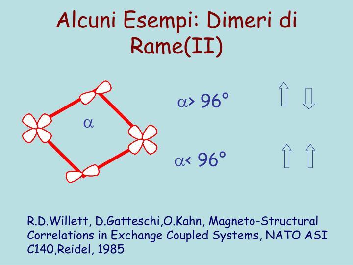 Alcuni Esempi: Dimeri di Rame(II)