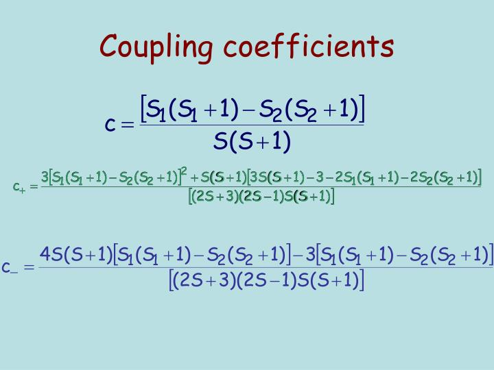 Coupling coefficients