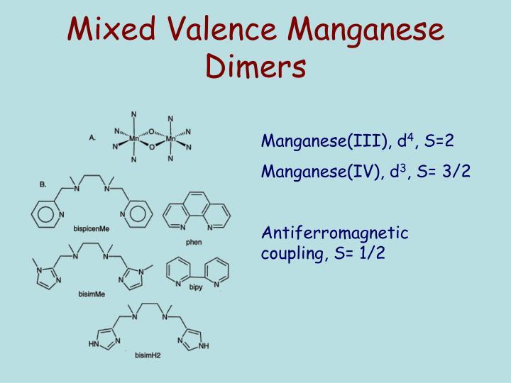 Mixed Valence Manganese Dimers